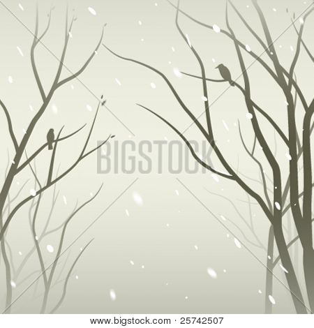 Snowfall in the forest. Trees silhouettes against mantle of snow