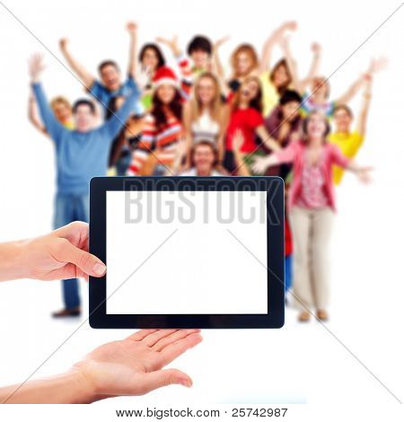Tablet computer and group of happy people. Isolated on white background.