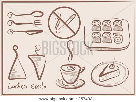 collection of signs for cafe or store