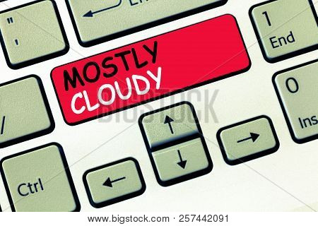 Word writing text Mostly Cloudy. Business concept for Shadowy Vaporous Foggy Fluffy Nebulous Clouds Skyscape poster