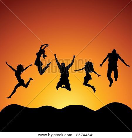people jumping over the sky