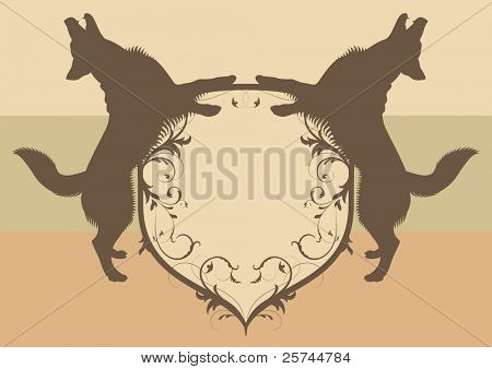 emblem with barking dogs