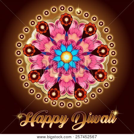 Happy Diwali. Vector Graphic Of Indian Rangoli.rangoli - A Traditional Indian Art Of Decorating The