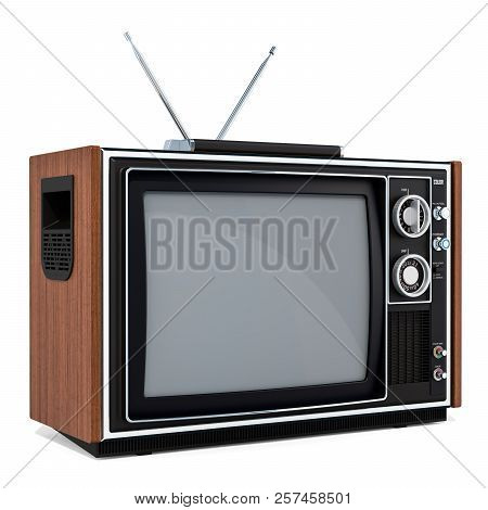 Vintage Tv Set, 3d Rendering Isolated On White Background
