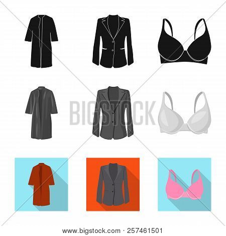 Vector Illustration Of Woman And Clothing Symbol. Collection Of Woman And Wear Vector Icon For Stock