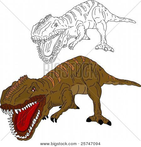 vector - dinosaur attacking , isolated on background poster