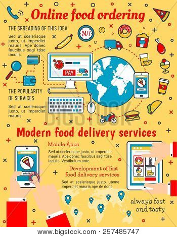 Online Food Delivery And Catering Service Poster. Vector Thin Line Art Design Of Online Shop Applica