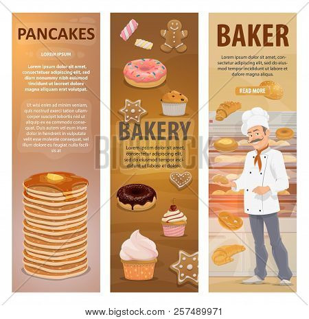 Baker And Bakery Shop Or Pastry In Bakehouse. Vector Design Of Baker Man At Work With Baked Bread, S