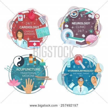 Cardiology, Neurology Or Otorhinolaryngology And Acupuncture Medicine Icons. Vector Cardiologist, Ne
