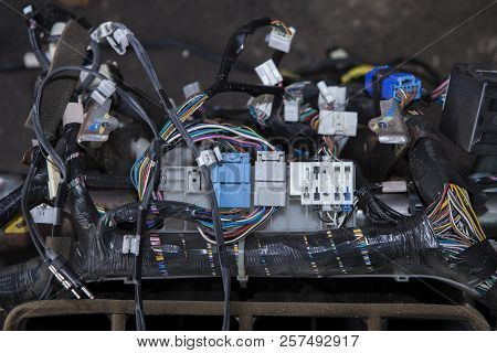 Repair The Car Wiring , A Large Tangle Of Ravel Multicolored Wires From The Car Wiring Lies In The C