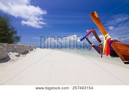 Perfect Tropical White Sand Beach In Koh Samui Thailand.fishing Boat On The White Sand Beach And Blu