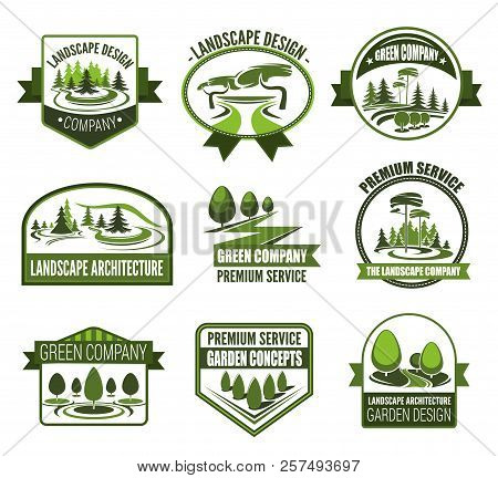 Gardens Association Icons For Landscape Design And Horticulture Gardening. Vector Symbols Of Forest