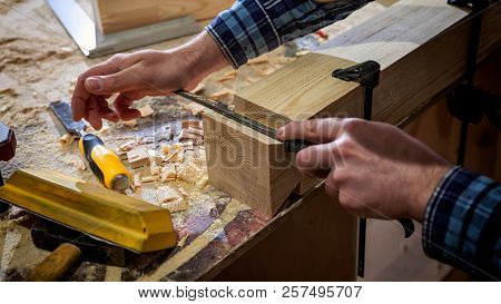 Close Up Experienced Carpenter In Work Clothes And Small Buiness Owner Working In Woodwork Workshop,