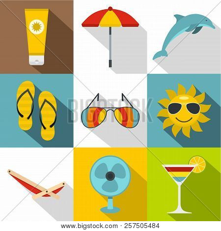 Tourism At Sea Icons Set. Flat Illustration Of 9 Tourism At Sea Icons For Web