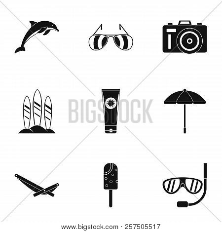 Tourism At Sea Icons Set. Simple Illustration Of 9 Tourism At Sea Icons For Web