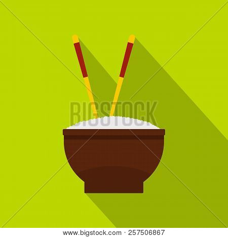 Brown Bowl Of Rice With Pair Of Chopsticks Icon. Flat Illustration Of Bowl Of Rice With Pair Of Chop