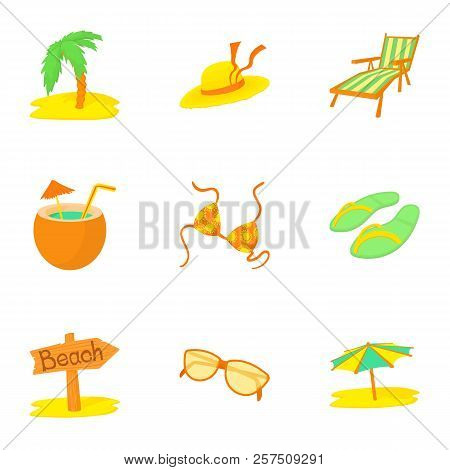 Journey To Sea Icons Set. Cartoon Illustration Of 9 Journey To Sea Icons For Web