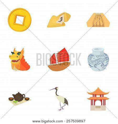 Tourism In China Icons Set. Cartoon Illustration Of 9 Tourism In China Icons For Web