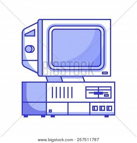 Retro computer from 90s. Classic vintage PC icon isolated on white. Obsolete data processing machine for home and office. Old school mainframe with floppy in line. poster