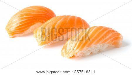 Set Of Three Sushi Isolated On White Background