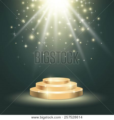 Gold Podium With Glittering Light On Celebration Background. Vector Illustration