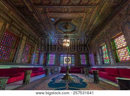 Cairo, Egypt - August 26 2018: Manial Palace Of Prince Mohammed Ali. Syrian Hall With Ornate Wooden