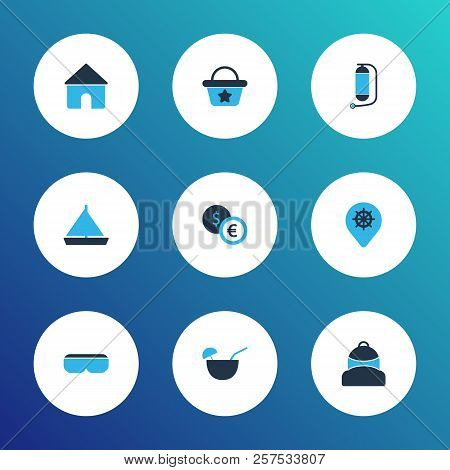Journey Icons Colored Set With Exchange Money, House, Yacht And Other Underwater Tank Elements. Isol