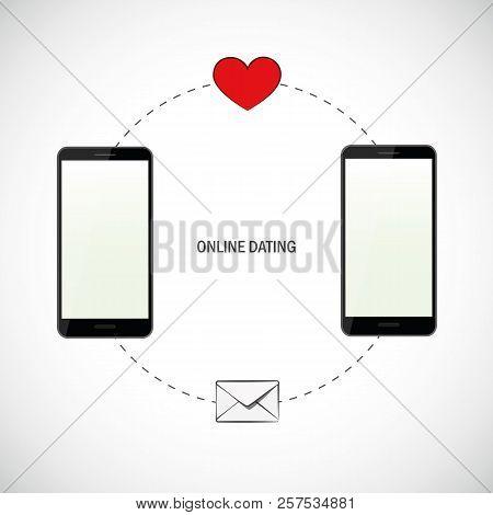 Love Message Sending Via Smartphone Online Dating Vector Illustration Eps10