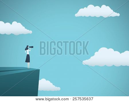 Public Speaker Or Business Leader Vector Concept. Businesswoman Speaking Through Megaphone On A Ladd