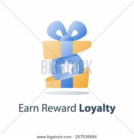 Yellow Reward Gift, Open Present Box, Loyalty Program, Earn Points, Collect Bonus, Redeem Special Pr