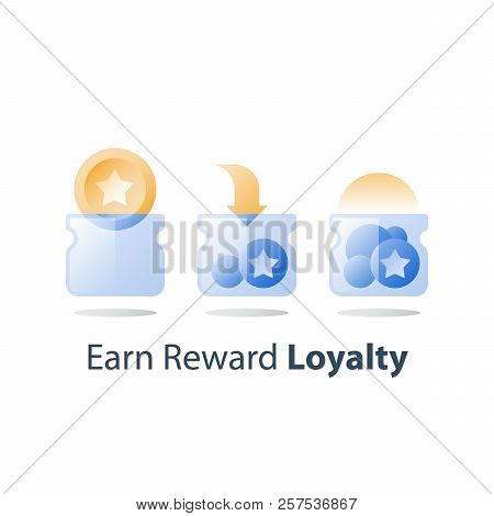 Earn Points, Loyalty Program, Collect Bonus Tokens, Cash Back, Perks Concept, Empty And Full Glass J
