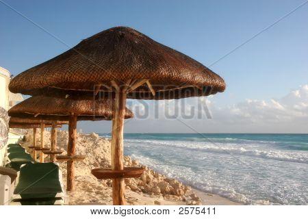 Umbrellas Down The Beach