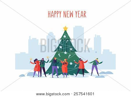 Winter Holidays In The City. New Year And Christmas Party On Cityscape With Flat People Characters C