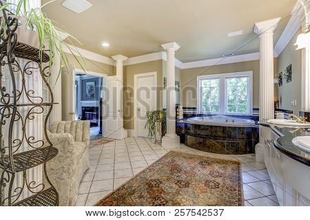 Elegant Master Bathroom With White Columns