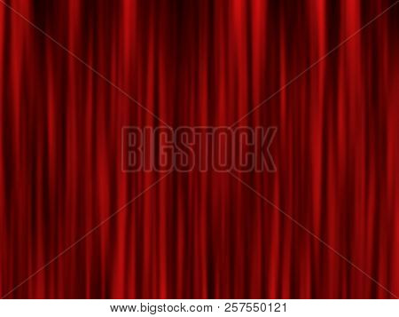 Modern Red Curtain Background. Stage Screen. Red Curtain Theater Scene Stage. Abstract Stage Curtain