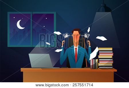 Serious Boss. Senior Businessman Sitting At His Desk With Angry Face. Business Man Working At The Of