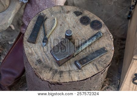 Coin Forging Tools. Medieval Metal Processing For Making Coins.  Coinage
