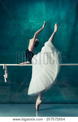 The Classic Ballet Dancer In White Tutu Posing At Ballet Barre On Studio Background. Young Teen Befo