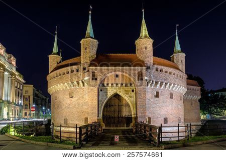 Krakow, Poland - August 18:  The Krakow Barbican - Fortified Outpost On August, 18, 2018 In Krakow