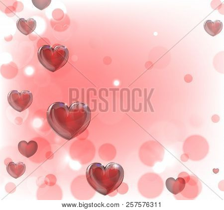 A Valentines Day Hearts Red Background With Bokeh Effect