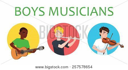 Musicians Boys Of Different Nations Is Inspired To Play Musical Instruments. Violinist, Flutist, Gui