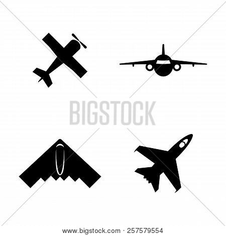 Airplanes, Planes. Simple Related Vector Icons Set For Video, Mobile Apps, Web Sites, Print Projects