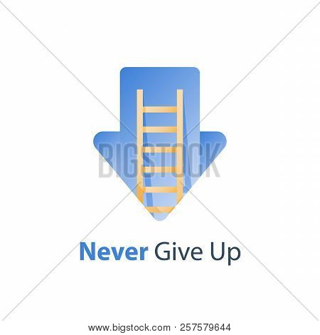 Never Give Up Concept, Growth Mindset, Motivation Idea, Positive Thinking, Ladder To Success, Arrow