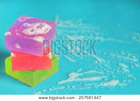 Natural Handmade Soap And Bubbles, Close Up