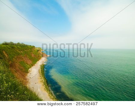 Cliffs On The Black Sea Coas. Landscape Of Cliffs And Beach In Vama Veche, Romania. Nature And Trave