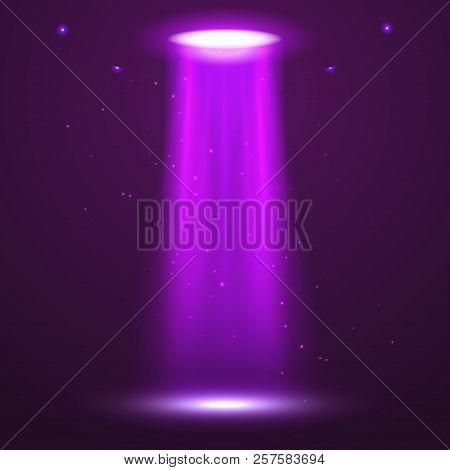 Ufo Light Beam. Alien Transport Futuristic Bright Light In Dark On Transparent. Ufo Spaceship Isolat