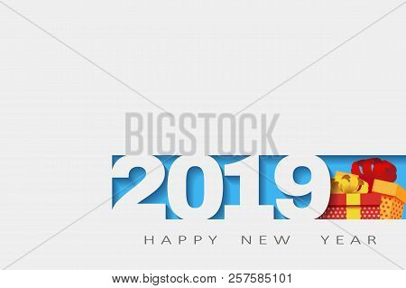 2019 Happy New Year. Numbers Design Of Greeting Card Of. Happy New Year Banner With 2018 Numbers. Ve