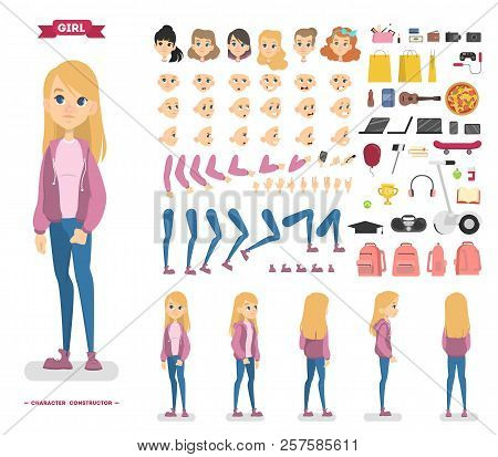Cute Teen Girl Character Set For Animation