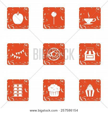 Luscious Icons Set. Grunge Set Of 9 Luscious Icons For Web Isolated On White Background