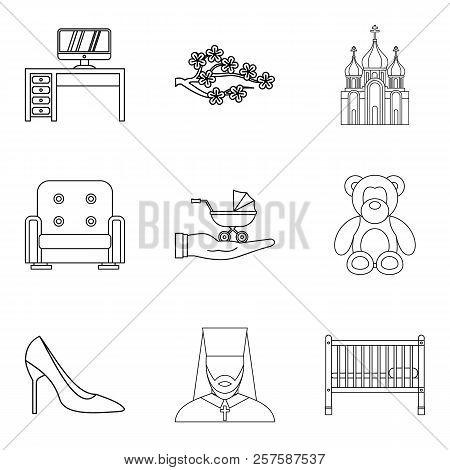 Husband Icons Set. Outline Set Of 9 Husband Icons For Web Isolated On White Background